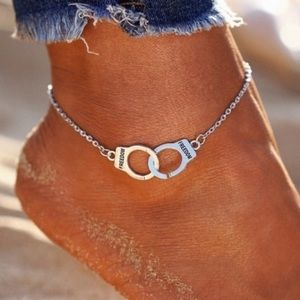 "Silver Handcuff ""Freedom"" Anklet Bracelet"